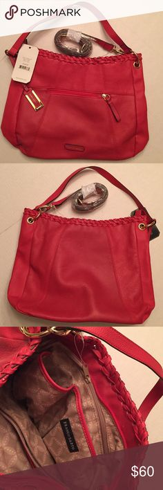 NWT Franco Sarto Coral Handbag Beautiful leather handbag with tote strap and additional shoulder strap. Braid detailing andd gold fixtures make this shade of coral a must have addition to your wardrobe Franco Sarto Bags Totes