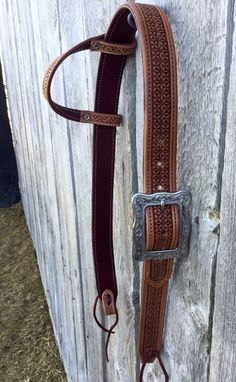 Made To Order Custom Geometric Stamped TooledOne Ear Belt Style Headstall - Silver Wings Custom Leather Western Bridles, Western Horse Tack, Horse Bridle, Horse Saddles, Horse Halters, Breyer Horses, Headstalls For Horses, Cowboy Gear, Barrel Racing Horses