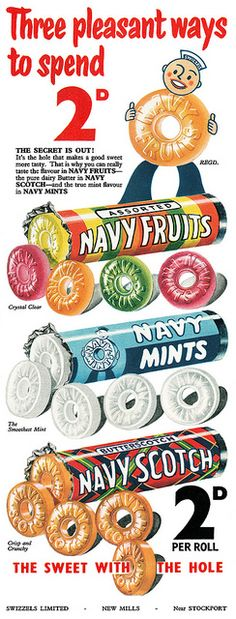 1954 Navy Sweets ad Navy candies loved butterscotch lifesavers in my childhood, by then they weren't called Navy Scotch Old Advertisements, Retro Advertising, Retro Ads, Retro Poster, Poster Ads, Vintage Candy, Retro Vintage, Vintage Food, Vintage Ladies