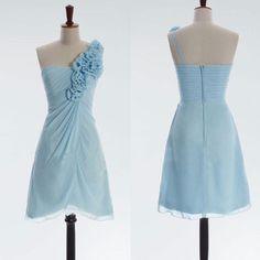 ce75c1cfb46e One Shoulder Light Blue Chiffon Wedding Party Dress for Bridesmaid