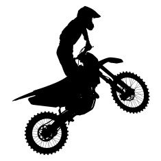 Silhouettes of a motocross rider performing stunts stock vector art 20594279 - iStock