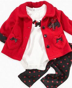omg SOOO CUTE CUTE CUTE! <3 love the scotty doggies! Nannette Baby Set, Baby Girls 3 Piece Fleece Set - Kids - Macy's