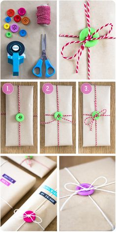Gift wrapping with buttons