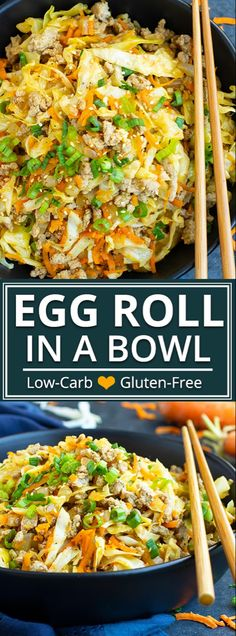 This Egg Roll in a Bowl recipe is loaded with Asian flavor and is a Paleo gluten-free dairy-free and keto recipe to make for an easy weeknight dinner. From start to finish you can have this low carb and healthy family dinner recipe ready in under 3 Healthy Family Dinners, Easy Weeknight Dinners, Healthy Dinner Meals, Healthy Low Carb Meals, Healthy Salads, Healthy Smoothies, Gluten Free Dinner, Low Carb Dinner Recipes, Lunch Recipes