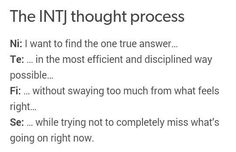 INTJ thought process by cognitive function.