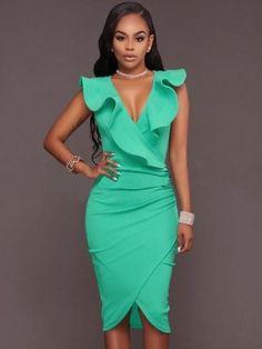 Gross Weight/Package: 0.41( kg ) Material: Cotton Silhouette: Bodycon Dress Length: Knee-Length Sleeve Length: Sleeveless Sleeve Type: Regular Neckline: V-Neck Combination Type: Single Waist Line: High-Waist Closure: Pullover Pattern: Plain Embellishment: Asymmetric,Falbala Season: Summer Size: S: Dress Length: 103cm / 40.6inch; Bust: 84cm / 33.1inch; Waist: 71cm / 28.0inch; Hips: 88cm / 34.6inch; M: Dress Length: 104cm / 40.9inch; Bust: 89cm / 35.0inch; Waist: 76cm / 29.9inch; Hips: 93cm…
