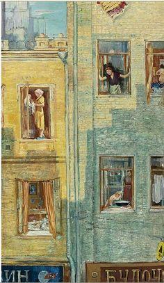 """Morning Windows"", 1959 by Yuri Pimenov (USSR painter, 1903 - Pierre Auguste Cot, Yuri, Socialist Realism, Soviet Art, Window Art, Window View, Rear Window, Inspiration Art, Expo"