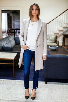 Ivory Overcoat, Dark Wash Denim, Skinny Jeans, Heels, White Blouse