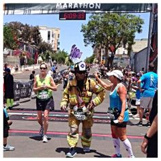 At the finish line of the Rock n Roll San Diego marathon, ran 26.2 miles in fire gear to honor fallen firefighters who died in the line of duty and their families through the National Fallen Firefighters Foundation. - Jose Zambrano  6/2/2014