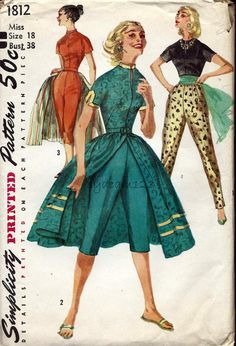 1956 Simplicity 1812 Junior Misses and Misses Pants in Two Lengths, Blouse and Overskirt from the 1950s