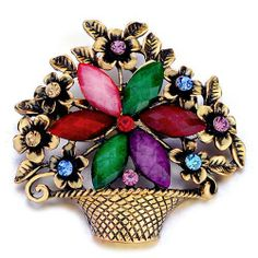 Pugster Beautiful Flower Basket Colorful Swarovski Crystal Diamond Accent Brooches And Pins Pugster. $12.49. Occasion: casual wear,anniversary, bridal, cocktail party, wedding. Money-back Satisfaction Guarantee.. Exquisitely detailed designer style with Swarovski cystal element.. One free elegant cushioned Gift box available with every order from Pugster.. Can be pinned on your gown or fastened in your hair with bobby pins.