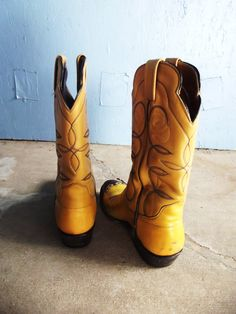 Yellow Leather Cowboy Boots Vintage