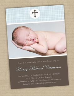 Custom Photo Baptism Christening Invitation | Photo Baptism ...