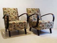 Pair of Mid Century Easy Armchairs in Beech with Original Fabric by Halabala 1940s