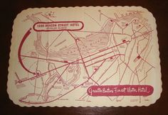 Vintage Advertising Paper Placemat - 1200 Beacon Street Hotel Brookline MASS