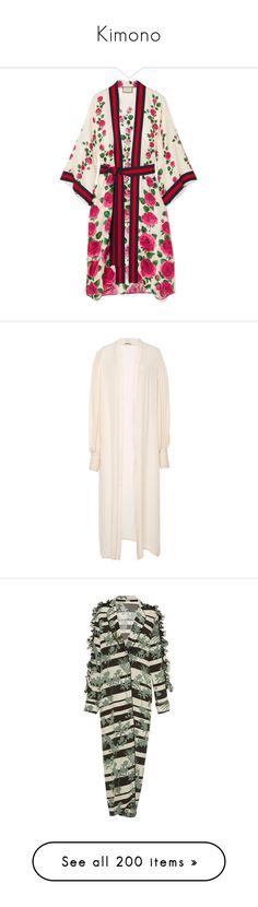 """Kimono"" by alina-chipchikova ❤ liked on Polyvore featuring intimates, robes, kimono dressing gown, patterned robes, rose print kimono, colorful kimono, gucci robe, white, white kimono robe and white robe"