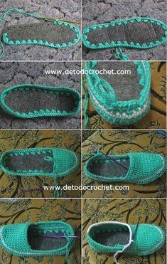 Zapatillas multicolores tejidas al crochet. Son especiales y coloridas. Se tejen al crochet con hilos bien coloridos. They are special and colorful. They are crocheted with very colorful threads. Crochet Sandals, Crochet Boots, Crochet Slippers, Crochet Cardigan, Diy Crochet, Crochet Shawl, Crochet Clothes, Crochet Baby, Crochet Slipper Pattern