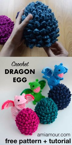 Crochet Dragon Egg with Surprise - FREE Amigurumi Pattern - Ami AmourThanks martaoqzo for this post.Fun Crochet Dragon Egg with an Amigurumi Surprise! FREE crochet pattern and tutorial for some fantasy magic. Make your amigurumi dragons in a# Ami # Crochet Simple, Cute Crochet, Crochet For Baby, Crochet Snail, Crochet Bat, Crochet Flamingo, Crochet Ladybug, Crochet Pincushion, Crochet Hedgehog