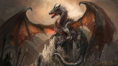 A Castle, Conquered by a Dragon Painting Print Poster Fantasy Posters, Fantasy Castle, Adhesive Wallpaper, Painting Prints, Drake, Poster Prints, Wall Art, Beautiful, Card Games