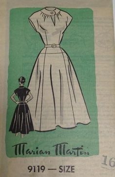 Vtg 50s Mail Order Sewing Pattern Dress w Belt 16 Bust 34 FF Marian Martin