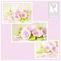 Pudełko ślubne:)Moja Klientka zażyczyła sobie by pudełko było białe a kompozycja pastelova:)Róże wyszły pięknie:) #wedding #gift #prezent #fimo