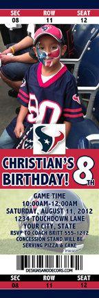 Houston Texans Football Ticket (Any Team) - Custom You Print Digital Ticket Invitation - Birthday Party. $19.00, via Etsy.