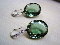 Luxury Green Amethyst Stone Earrings 52.60 carats by VeraidaGifts, $74.00