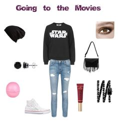 """Going to the movies"" by inspiration-m ❤ liked on Polyvore featuring Tee and Cake, Current/Elliott, Converse, Free People, Chanel, BERRICLE, Too Faced Cosmetics and River Island"