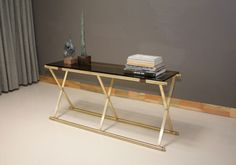 Brass X-Base Console Table
