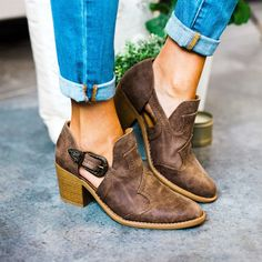 Western Style Bootie | the cute side buckle makes look a lil less cowboy and more feminine to me