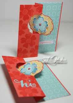 Flip Cards by Lynn Weiss   color combo of Pool Party, Calypso Coral, Gumball Green & Daffodil Delight picked up from the Epic Day DSP.