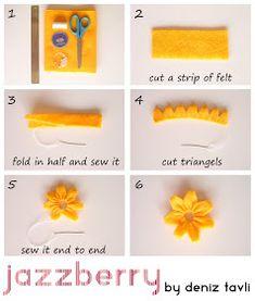 DIY Tutorial: Felt Crafts / DIY Felt Flower Tutorial Voor vilt: www. Felt Crafts Diy, Felt Diy, Crafts To Do, Fabric Crafts, Handmade Flowers, Diy Flowers, Fabric Flowers, Zipper Flowers, Ribbon Flower