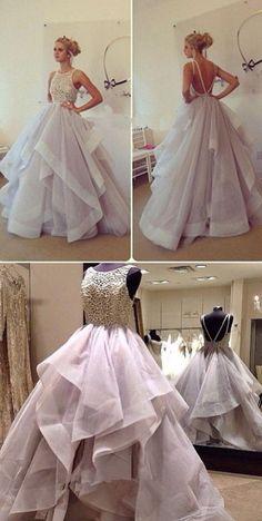 prom dresses 2017, princess long prom dresses, wedding dresses,Gorgeous A-Line Scoop Floor Length Lavender Prom Dress with Ruffles