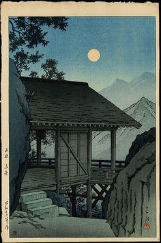"""The Yama Temple (Yamagata)"" by Kawase Hasui (Woodblock Print, (1941) c.1950) #art #woodblock"