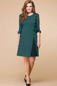 Платье Romanovich, тёмно-зелёный (модель — Белорусский трикотаж в интернет-магазине Mirtrik – Uñas Coffing – Maquillaje – Peinados – Moda – Zapatos – Moda masculina – Maquillaje de ojos – Trenzas – Vestidos – Trajes casuales – Moda Emo – Uñas acríl Maternity Dresses, Women's Dresses, Casual Dresses, Dresses For Work, Mode Outfits, Trendy Outfits, Hijab Fashion, Fashion Dresses, Spring Outfits Women