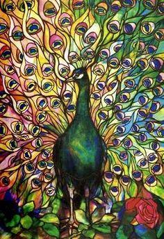 Fine Peacock Leaded-glass Window Tiffany Studios