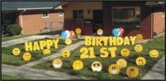 Yard Greetings, Lawn Signs, Yard Cards, Cards, Yard, Yard Art, Coroplast, Corrugated Plastic, Storks, Pink Flamingos, Flamingos by the Yard, Tombstones, Over the Hill Sayings, Grim Reaper, Cows, Hearts, Balloons, Smiley Faces, Happy Faces, Letters, Number