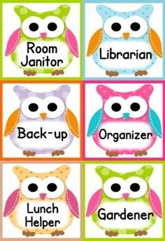 Owl Themed Classroom Materials Pack – Pack includes: * Alphabet A to Z * 6 Binder Covers * Cute Owl Classroom Jobs Display * Birthday Poster * Birthday Owls and Month Headers * Calendar Title, Month Headers, and 31 Date Squares * Grouping Cards * 7 Name Tag Designs for early and upper elementary * 10 Seasonal Mini-Notes – fall, Halloween, Thanksgiving, Christmas, President's Day, Valentine's Day, spring, Easter, and summer * 6 Postcards – summer message to future students, welcome, star