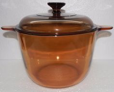 Corning VISIONS AMBER 3.5 Liter Stew Pot with Lid, Stock Pot, Chili Pot, Made in France, Circa 1983, Excellent Condition a 110 dollar value by libertyhallgirl on Etsy $39.99