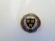 "It is stamped "" on the back. In Excellent Condition. University Of Pennsylvania, University Of Kansas, Harvard University, Brass Plaques, Crest Logo, Enamel, Antiques, Ebay, Isomalt"