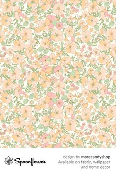 Customize your own home decor, #wallpaper and #fabric at Spoonflower. Shop your favorite indie designs on #fabric, #wallpaper and home decor products on Spoonflower, all printed with #eco-friendly inks and handmade in the United States. #patterndesign #textildesign #pattern #digitalprinting #homedecor #Floral #Illustrated #70s #Vintage #peach Flora Und Fauna, Stoff Design, Iphone Wallpaper, Fabric Wallpaper, Spoonflower, Watercolor Flowers, Custom Fabric, Diy Wedding, Pattern Design
