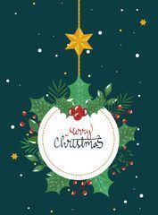Christmas Illustration Christmas 2020 Merry Christmas Poster With Frame Circular Han In 2020 Merry Christmas Calligraphy Christmas Calligraphy Christmas Illustration