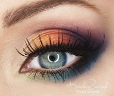 Purple, burgundy, orange eyeshadows The Best Eyeshadow for Blue Eyes   We love the colors on this eye makeup. #youresopretty