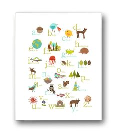 Amazon.com: Nature Themed English Alphabet Wall Art Print 11x14 Nursery Decor Kid's Wall Art Print Kid's Room Decor Gender Neutral…