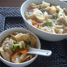 IF WONTONS ARE MADE AHEAD, FROZEN, AND THEN REHEATED IN BROTH, THIS WOULD WORK VERY, VERY WELL AND EASILY IN A SLOW COOKER - Wonton Soup Allrecipes.com