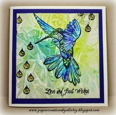 Paper Creations by Shirley: First Play with Brushos using Designs by Ryn: allying Hummingbird 2 and Raindrop Set (stamps)
