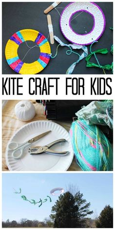 Sewing For Kids This kite craft for kids is made with a paper plate! Perfect for summer crafting! - Make this kite craft this summer! Learn how to make a kite from a paper plate and add a few hours of fun to your child's day! Paper Plate Crafts For Kids, Summer Crafts For Kids, Paper Crafts, Camping Crafts For Kids, Kites For Kids, Art For Kids, Sewing Projects For Kids, Sewing For Kids, Sewing Ideas