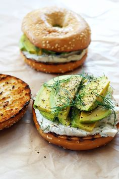Bagel w/ Cream Cheese, Avocado & Dill - The Best Back-to-Work Breakfasts That Take 10 Minutes or Less via @MyDomaine