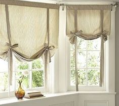 Find more ideas: Shabby Chic kitchen curtains Vintage kitchen curtains Country kitchen curtains Kitchen curtains with blinds Long rustic kitchen curtains # kitchen design # kitchen kitchens # window treatments. Tie Up Curtains, Small Window Curtains, Damask Curtains, Nursery Curtains, Curtains With Blinds, Kitchen Window Curtains, Bathroom Curtains, Neutral Curtains, Blinds Diy