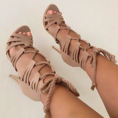 Shoespie Apricot Rope Lace Up Sandals Hot Shoes, Crazy Shoes, Me Too Shoes, Zapatos Shoes, Shoes Heels, Shoes Sneakers, Heeled Boots, Shoe Boots, Heeled Sandals